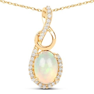 Malaika 14k Yellow Gold 3/5ct TGW Ethiopian Opal and White Diamond Pendant