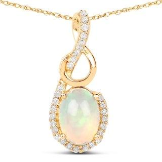 Malaika 14k Yellow Gold 3/5ct TGW Ethiopian Opal and White Diamond Pendant