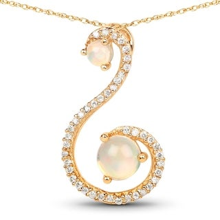Malaika 14k Yellow Gold 1/2ct TGW Ethiopian Opal and White Diamond Pendant