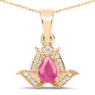 Malaika 14k Yellow Gold 1/2ct TGW Ruby and White Diamond Pendant