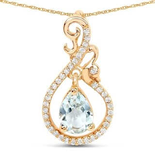 Malaika 14k Yellow Gold 4/5ct TGW Aquamarine and White Diamond Pendant