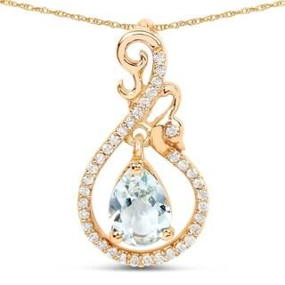 Malaika 14k Yellow Gold 4/5ct TGW Aquamarine and White Diamond Pendant