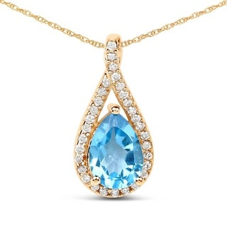 Malaika 14k Yellow Gold 0.89-carat Genuine Swiss Blue Topaz and White Diamond Pendant