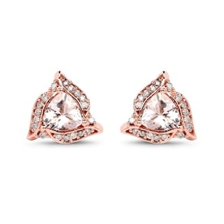 Malaika 14k Rose Gold 0.81 Carat Genuine Morganite and White Diamond Earrings