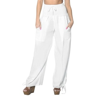 La Leela Women's White Rayon Lightweight Plain Relaxed-fit Drawstring Tie Lounge Pajama Nightwear Co