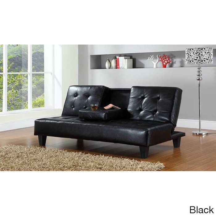 Hodedah Sofa Bed With Cup Holders (Black), Size Twin XL (...