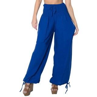 La Leela Women's Royal Blue Rayon Lightweight Plain Relaxed-Fit Drawstring Tie Lounge Nightwear Cove