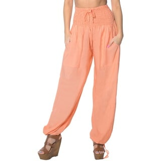 La Leela Women's Orange Rayon Lightweight Plain Relaxed-fit Drawstring Tie Lounge Nightwear Cover-up Bikini Swimwear Pants