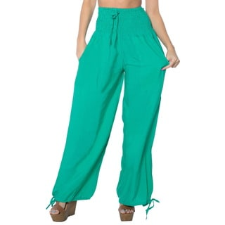 La Leela Rayon Plain Drawstring Tie Lounge Pajama Nightwear Women Pants Green