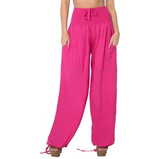 La Leela Women's Pink Rayon Lightweight Plain Relaxed Fit Drawstring Tie Lounge Pajama Nightwear Cover Up Bikini Swimwear Pants