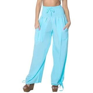 La Leela Rayon Plain Drawstring Tie Lounge Pajama Nightwear WomenPant Turquoise