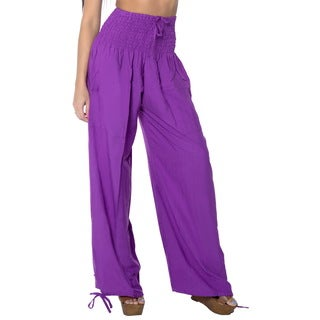 La Leela Women's Purple Rayon Lightweight Plain Relaxed Fit Drawstring Tie Lounge Nightwear Cover-up Bikini Swimwear Pants