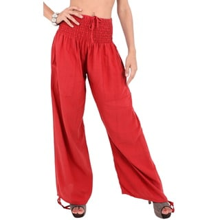 La Leela Rayon Plain Drawstring Tie Lounge Pajama Nightwear Women Pant Orange