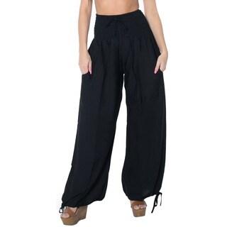 La Leela Rayon Plain Drawstring Tie Lounge Pajama Nightwear Women Pants Black