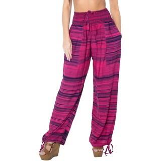 La Leela Women's Pink Rayon Lightweight Beach Wear Cover-up Bikini Swimwear Plush Lounge Relaxed Fit