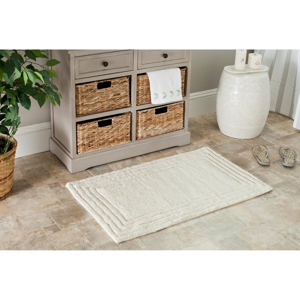 Shop Safavieh Plush Master Luxe Stripe Natural Bath Rug