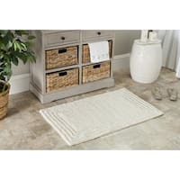 Safavieh Plush Master Luxe Stripe Natural Bath Rug (Set Of 2)