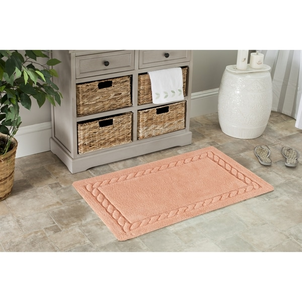 "Safavieh Plush Master Cable Plush Peach Bath Rug (Set Of 2) - 1'9"" x 2'10"""