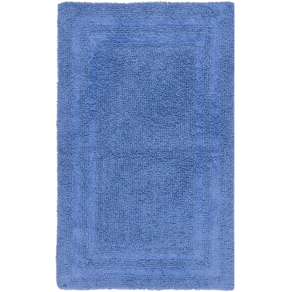 Safavieh Plush Master Grand Border Azure Blue Bath Rug (1' 9 x 2' 10)