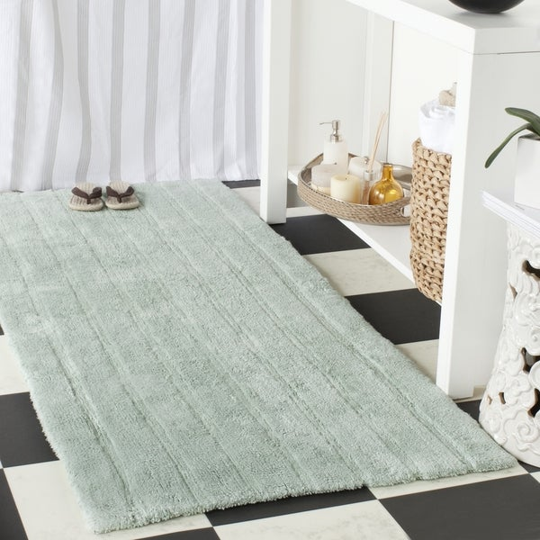 Safavieh Plush Master Spa Stripe Aqua Bath Rug (2' 6 x 6')