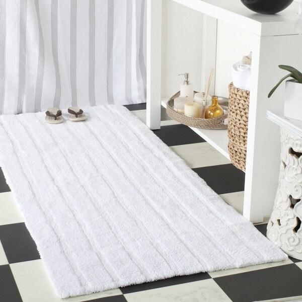 Safavieh Plush Master Spa Stripe White Bath Rug (2' 6 x 6')