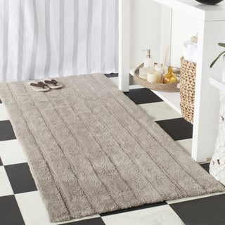 "Safavieh Plush Master Spa Stripe Grey Bath Rug (2' 6 x 6') - 2'-6"" x 6'"