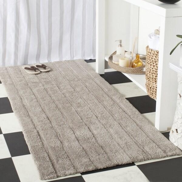 Safavieh Plush Master Spa Stripe Grey Bath Rug (2' 6 x 6')