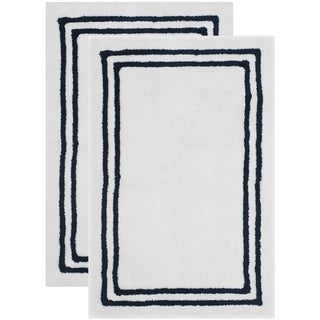 Safavieh Plush Master Candy Stripes Plush Navy Bath Rug (Set Of 2)