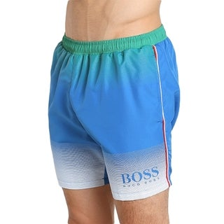 Hugo Boss Men's Blue Polyester Italy Euro Soccer Cup Swim Trunks