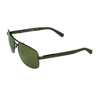 Timberland Men's Brown Metal and Plastic Polarized Aviator Sunglasses