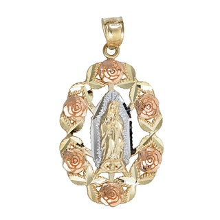14k Tri-color Gold Rose Frame Virgin Mary Pendant