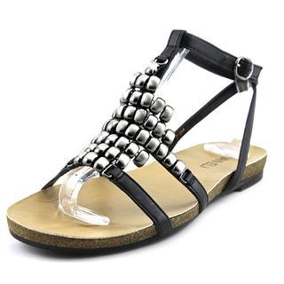 Vaneli Women's Belgin Black Nappa Leather Gladiator Sandals