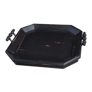 Bramble Co. Victorian Square Black Heavy Distressed Mahogany Serving Tray