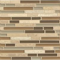 Allure Linear Gloss Stone and Mosaic Glass 12-inch x 12-inch Tile (Case of 10 Sheets)