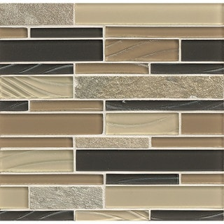 Bedrosians Elume Boardwalk Multicolor Glass/Stone Tiles (Pack of 10 Sheets)