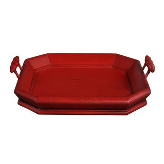 Bramble Co. Victorian Square Red Heavy Distressed Mahogany Serving Tray