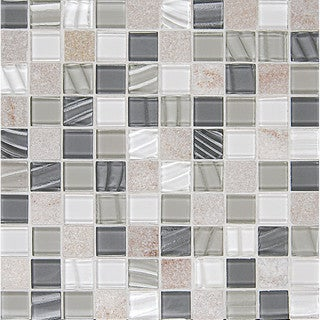 Bedrosians Elume Glass Heather Grey/Beige Glass/Stone Tiles (Pack of 10 Sheets)