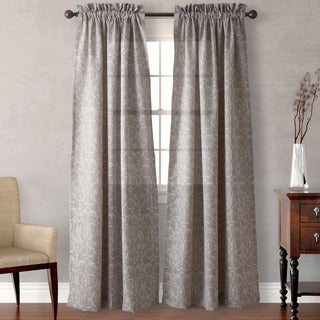 Heritage Landing Grey Filigree Scroll Curtain Panel Pair
