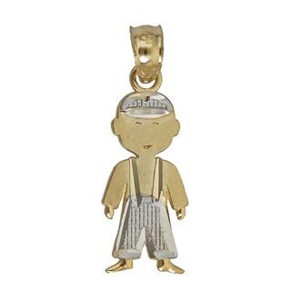 14k Yellow and White Gold Boy Pendant
