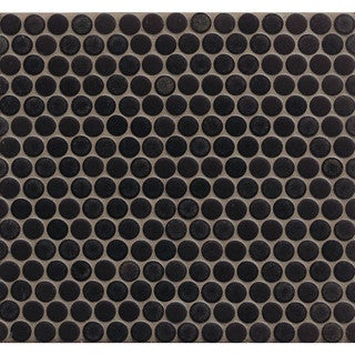 Bedrosians Penny Rounds Mosaic Mattete Charcoal Porcelain Tiles (Pack of 10 Sheets)