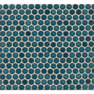 Bedrosians Penny Rounds Mosaic Gloss Dove Multicolor Porcelain Tiles (Pack of 10 Sheets)