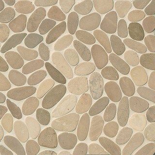 Bedrosians Glazed Sliced Pebble Antigua Multicolored Stone Tiles (Pack of 11 Sheets)