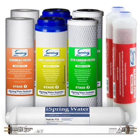 iSpring F10KU Alkaline Mineral UV 1-year Replacement Filter Set for 7-stage RO Systems RCC7AK-UV/RCC1UP-AK - White