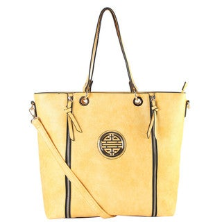 Rimen Gold Medallion Logo Front Double Zipper Shopping Tote Handbag
