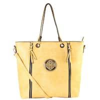 Rimen Gold Medallion Logo Front Double Zipper Shopping Tote Handbag