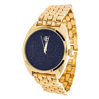 Fortune NYC Ladies Goldtone Case/ Blue Fabric Dial with Gold Strap Watch
