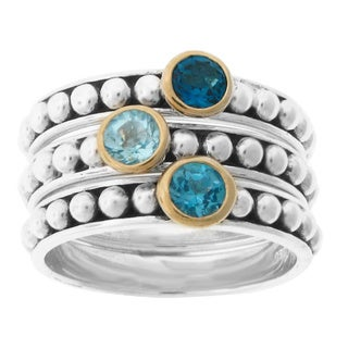 Meredith Leigh Two-tone 14k Gold/Sterling Silver Blue Topaz Stack Ring