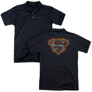 Superman/Iron Fire Shield (Back Print) Mens Regular Fit Polo in Black