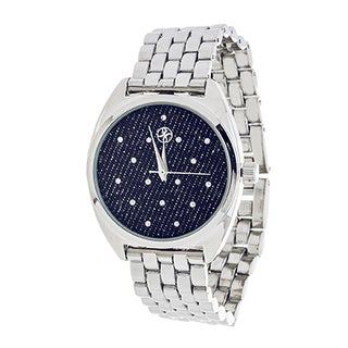 Fortune NYC Ladies Silvertone Case/ Blue CZ Fabric Dial with Silver Strap Watch