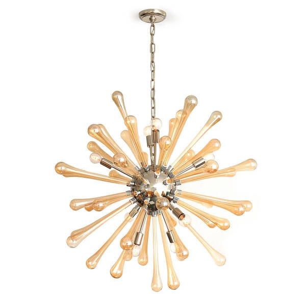 Joseph Allen Satellite Amber Blown Glass Chandelier
